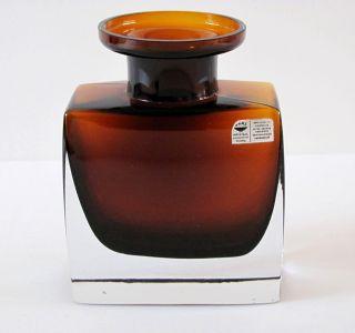 Gral - Glas: Designer - Vase,  Kristall,  Überfanglas,  Blockform,  H.  13 Cm - Um 1965 Bild