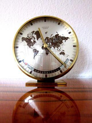 Design Kienzle Quartz Uhr / Tischuhr / Weltzeituhr - Worldtimer Table Clock 50er Bild