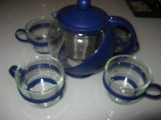 Tee Service 4 GlÄser & Glas - Kanne Für 1 - 2 Personen 0,  7 Liter Bild