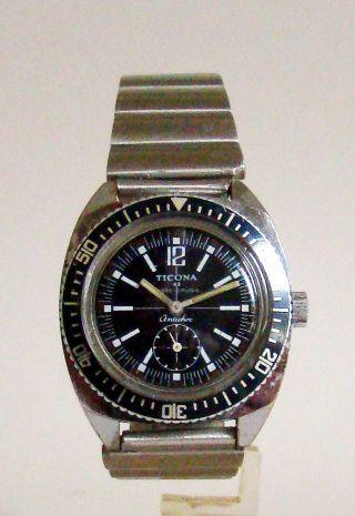 Ticona Handaufzug Kl.  Sek.  Vintage Divers Style Watch Space Age 60er Rare Bild