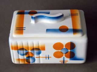 Spritzdekor Paetsch Bauhaus Colditz Carstens Hirschau Geometr.  Dose Deckeldose Bild