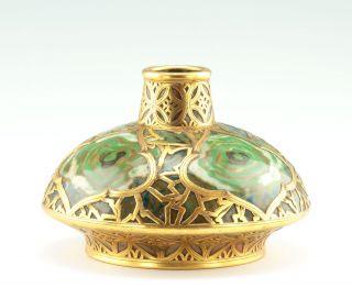 Museale Art Nouveau Jugendstil Vase Keramik Galvanoplastik Um 1900 Bild