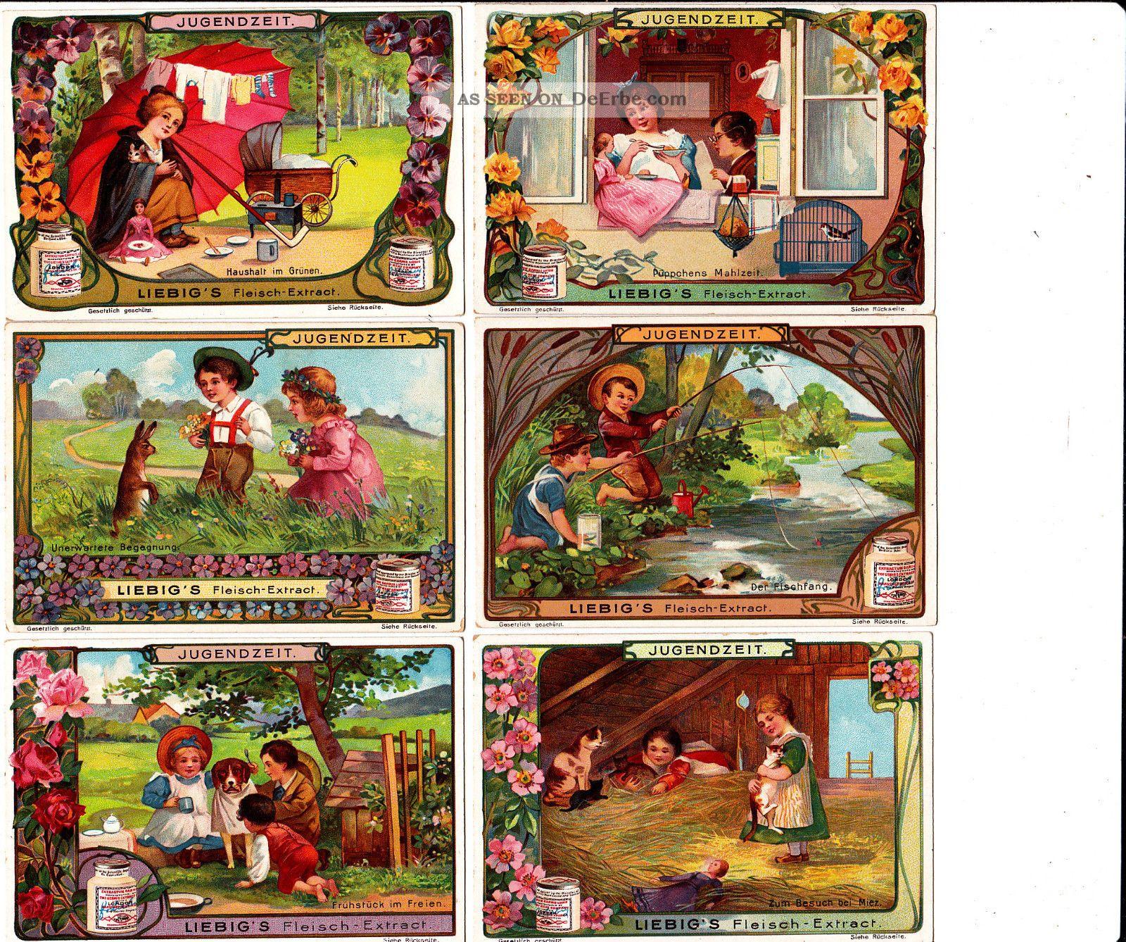 Liebig Bilderserie 1 - 6/ Jugendzeit Liebig Serie Nr: 597 1890-1919, Jugendstil Bild