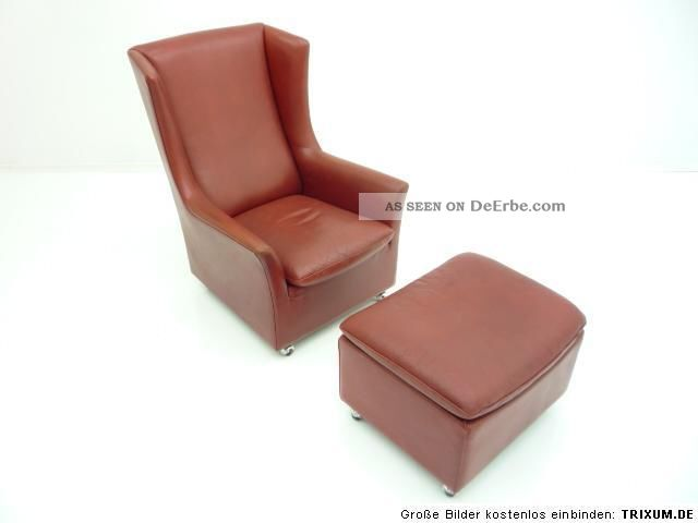 ohrensessel wing chair fusshocker leder kill. Black Bedroom Furniture Sets. Home Design Ideas