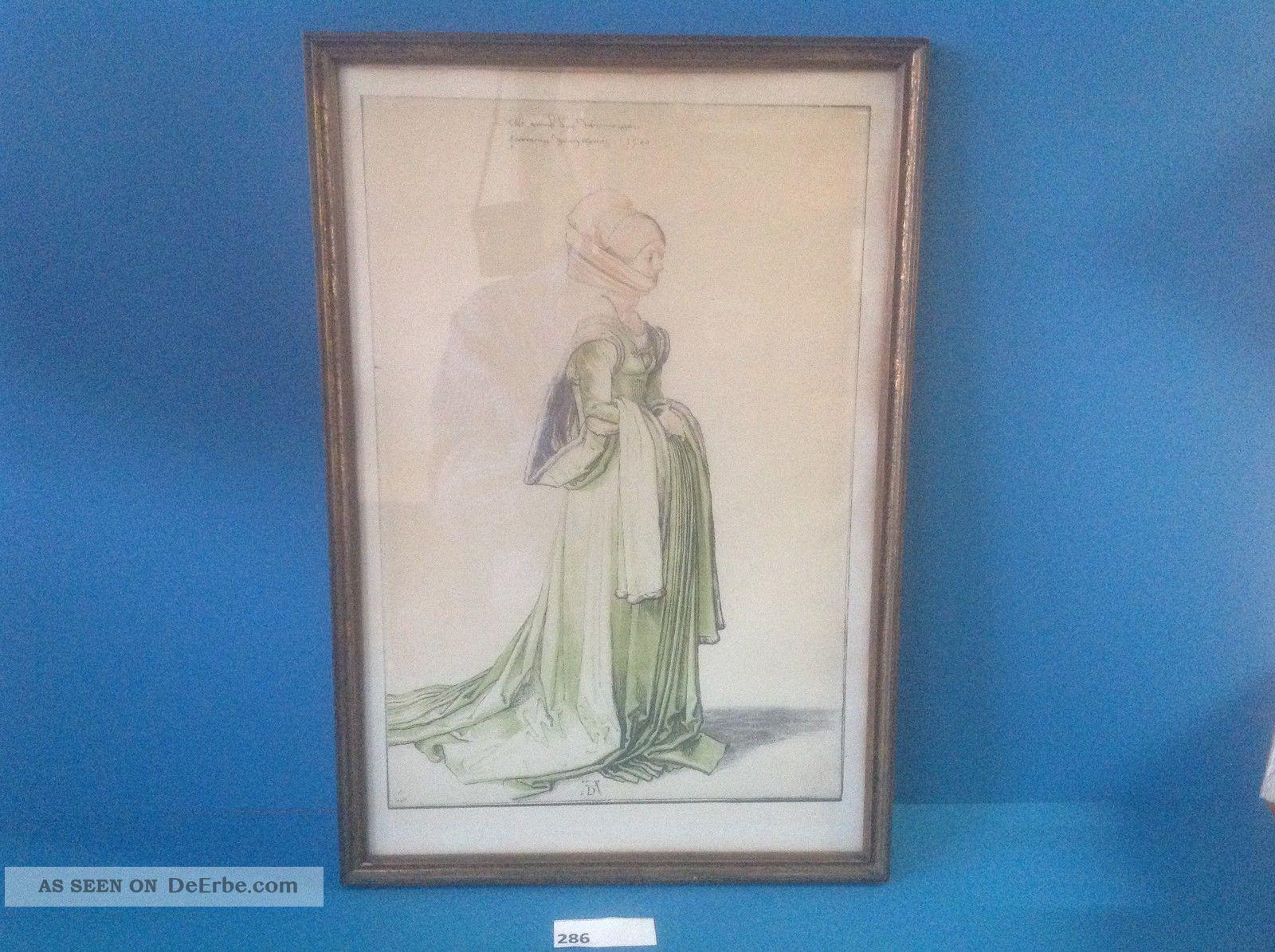 Colorierte Zeichnung,  Albrecht Dürer,  Damenmode Um 1500,  Holzrahmen (286) 1890-1919, Jugendstil Bild