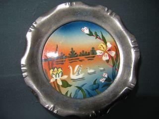 4 Kleine Teller,  Untersetzer,  Art Deco,  Metall,  Keramik,  Motiv Schwäne Im See Bild