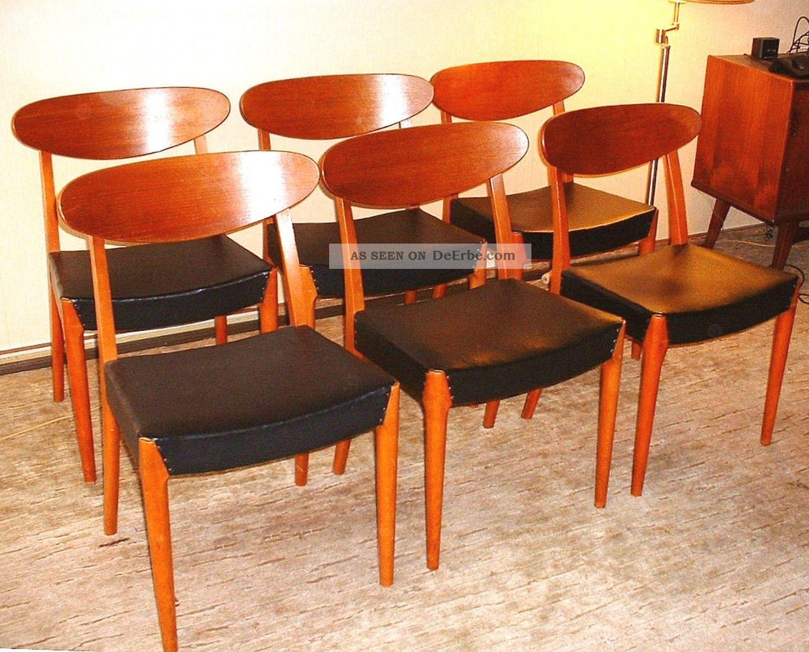 Orig 60er jahre teak tisch esstisch auszietisch mit 2 for Esszimmer 60er jahre