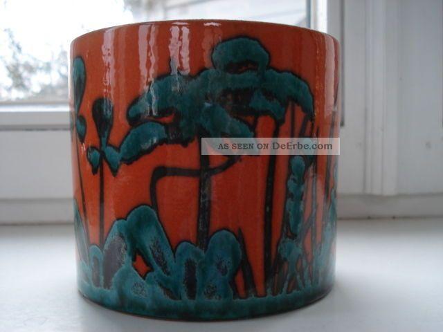 marei keramik bertopf blumentopf 70er handbemalt orange t rkis gr n. Black Bedroom Furniture Sets. Home Design Ideas