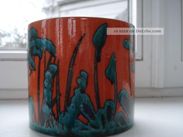Übertopf Keramik Türkis marei keramik Übertopf blumentopf 70er handbemalt orange - türkis - grün