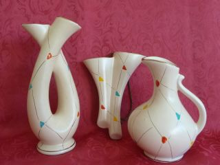 50er Jahre Bay Keramik 3 Teilig Vasen Schönes Design & Stil Bild