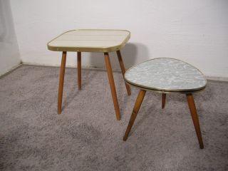 2 X Kleiner Blumenhocker Nierentisch Vintage Design 50er 60erjahre Midcentury Bild