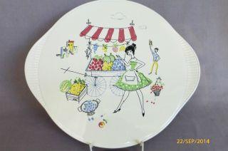 Keramik Grünstadt Kuchenteller Tortenplatte Teller Italien Rockabilly 50er 60er Bild