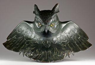 Prächtiges Jugendstil Tintenfass Eule Um 1900 Glasaugen Art Nouveau Inkwell Bild