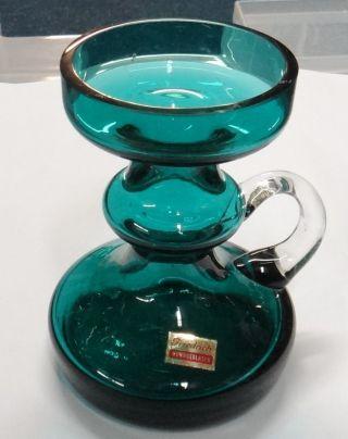 Kerzenhalter Grün Glas Mundgeblasen Friedrich 50er 60er Jahre Bild