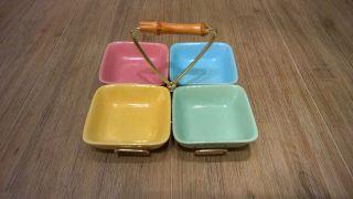 Tragegestell Mit 4 Keramikschälchen,  50er - Jahre - Design Bild