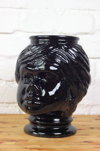 Vintage Glaskopf Vase Bonbonglas Shabby Schwarz 70s 70er - Jahre Bild