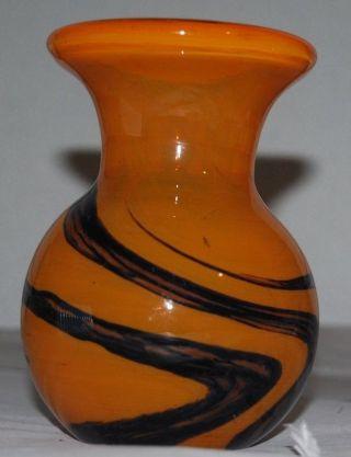 Kleine Murano Vase Überfangglas Orange Schwarz Ca.  780 Gramm Schwer Bild