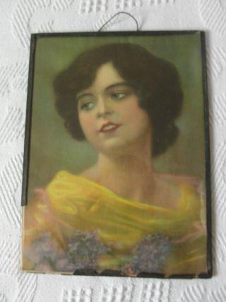 Mädchen Porträt Shabby Chic Vintage Druck Hinter Glas Mit Papier Gerahmt Bild