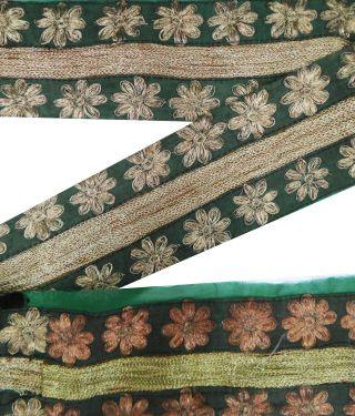 Vintage Indien Craft Sari Border Gestickte Grau Trim Nähen Spitze 1yd Band Bild