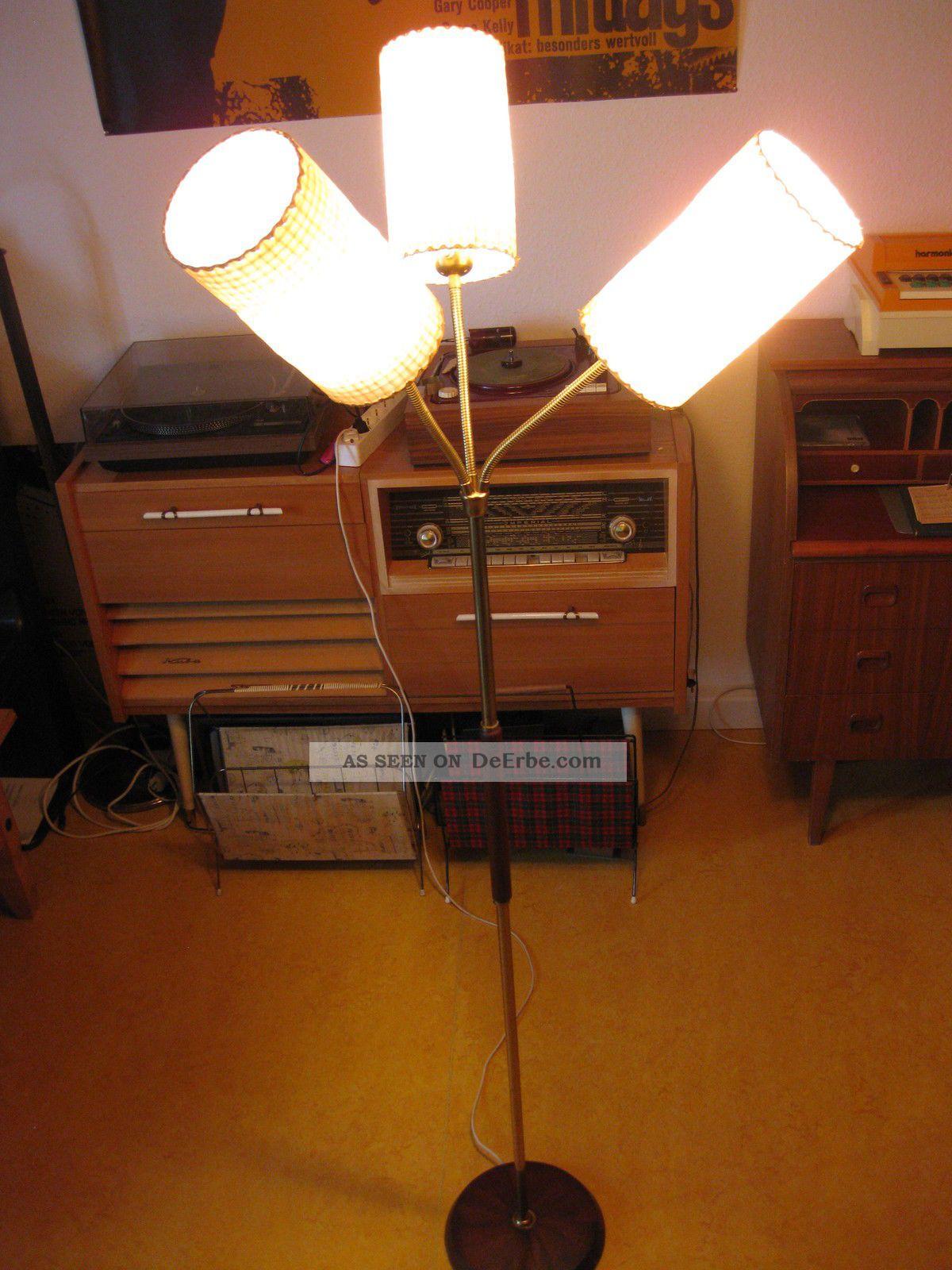 seltene t tenlampe stehlampe 3 flammig messing st nder 50er 60er. Black Bedroom Furniture Sets. Home Design Ideas