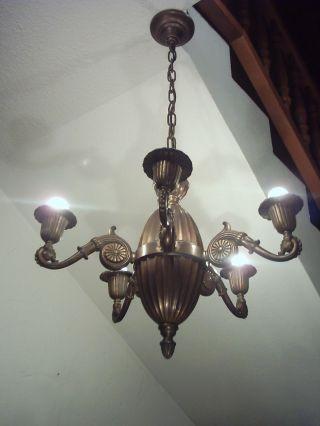 Prunkvolle Originale Jugendstillampe,  Lampe,  Deckenlampe Um Ca.  1900 Bild