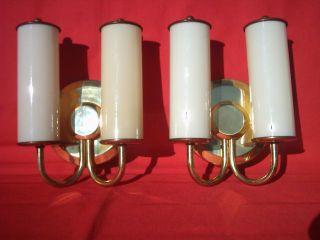 Paar Klassische Art Deco Bauhaus Tubusglas Wandlampen Kinoleuchten A.  Altem Kino Bild