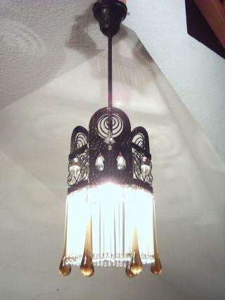 Originale Jugendstillampe,  Jugendstil Lampe Mit Glasstäbchenbehang,  Deckenlampe Bild