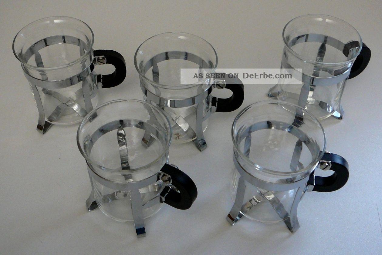bodum kaffee oder teegl ser 5 st ck glas chrom. Black Bedroom Furniture Sets. Home Design Ideas