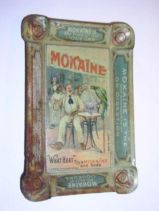 1900 Jugendstil Blech - Werbeascher Mokaine Liqueur Bild