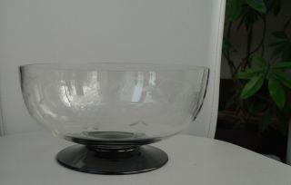 Art Deco Glasschale Obstschale Fussschale Bowl SchÖner Schliff Trauben 30 ' S Bild