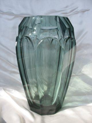 Vase Art Deco Wohl Carl Meltzer Haida BÖhmen Moser Toller Schliff 1,  8 Kg Bild