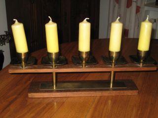 5 Flammiger Kerzenständer - Teakholz Und Metall / Messing 50er / 60er Jahre Bild