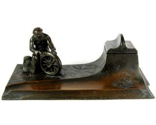 Jugendstil Metall Tintenfass / Tintenzeug Automobilia Ca.  1910 - 1920 Inkwell Bild