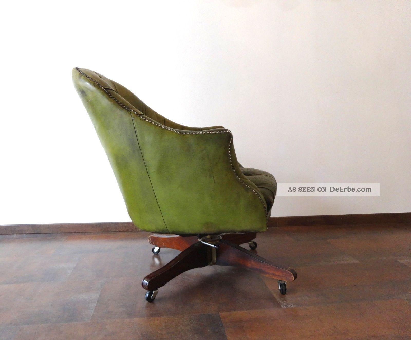 orig chesterfield vintage drehsessel b ro shabby chic sessel leder. Black Bedroom Furniture Sets. Home Design Ideas