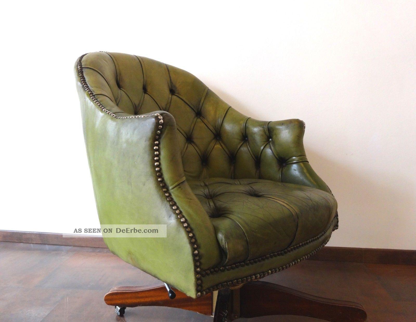 Orig Chesterfield Vintage Drehsessel Büro Shabby Chic