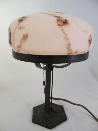 Jugendstil Art Deco Leuchte Tischlampe Weiß Marmoriert Glas Sehr SchÖn Alt Antik Bild
