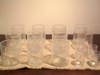 11 Craquelé Longdrink Gläser Und 4 Craquelé Schnapsgläser Aus Den 60iger/70igern Bild
