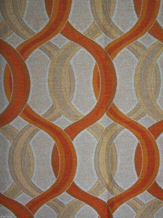 2x Vorhang Orange Beige Braun Panton Opart - B 348 X L 240 Cm - 70er Jahre Bild