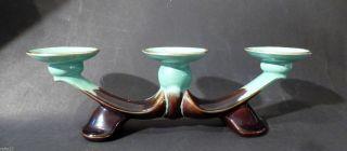 30/50er J.  Art Deco Kerzenleuchter - Halter Goldrand Fließglasur Keramik Bild