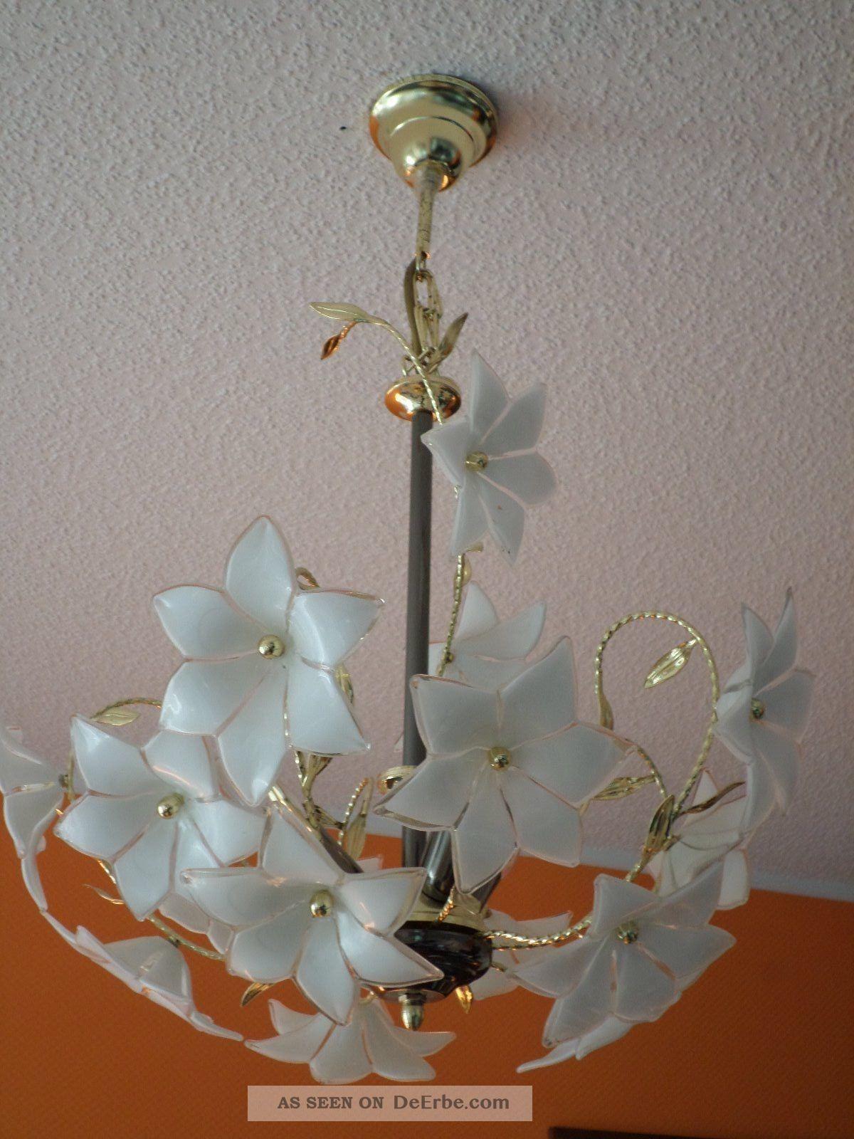 deckenlampe pendel leuchte metall glas l ster bl ten lampe. Black Bedroom Furniture Sets. Home Design Ideas