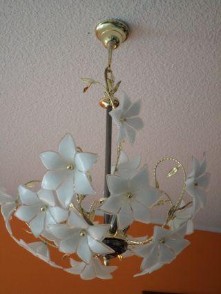 Deckenlampe Pendel Leuchte Metall Glas Lüster Blüten Lampe Blumen 3 Flammig Top Bild