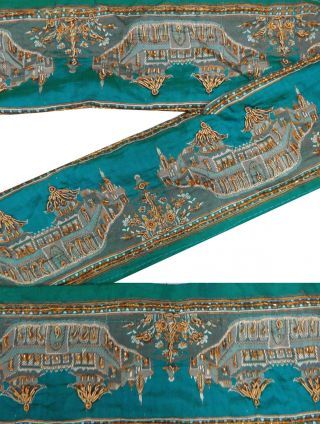 Vintage India Sari Border 1yd Lace Trim Weaving Craft Ribbon Blue Sewing Deco Bild