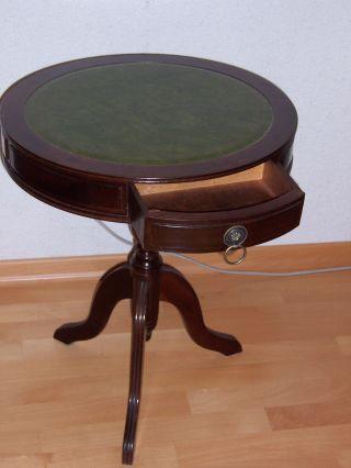 Runder Tisch Mit Grüner Ledereinlage Antik Bild
