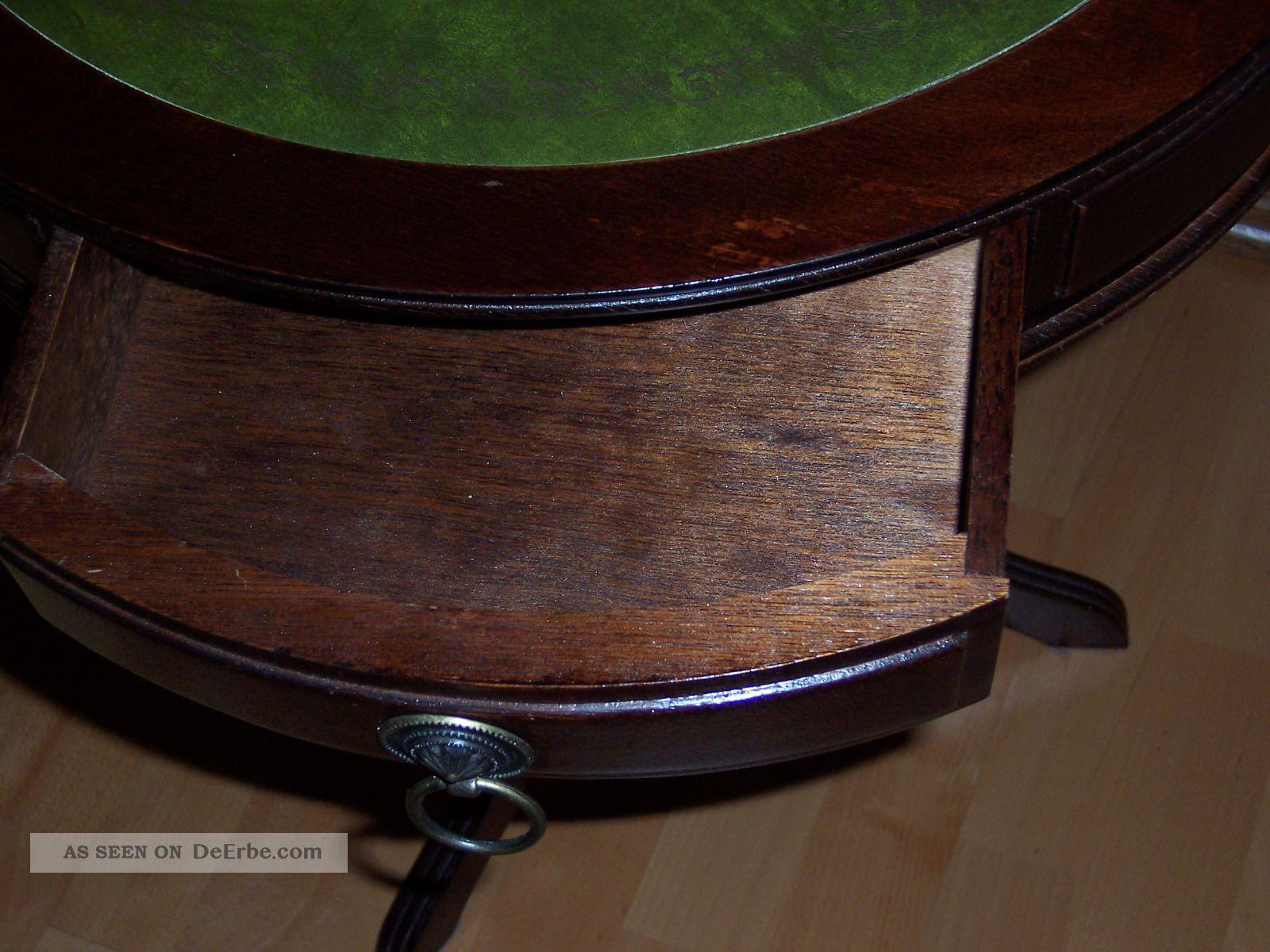 runder tisch mit gr ner ledereinlage antik. Black Bedroom Furniture Sets. Home Design Ideas