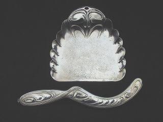 Altes Tisch - Kehrset: Schaufel,  KrÜmelbesen Metall Jugendstil ? 1920?/mka63 Bild