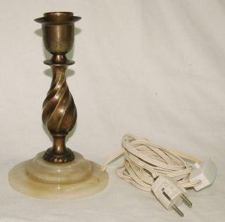 Alte Stehlampe Tischlampe - 20er/30er Jahre - Bronze Mit Onyx Fuß Bild