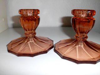 2 Kerzenständer,  Rosalin Pressglas,  30er Jahre,  Vintage Bild