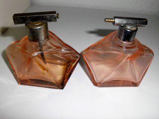 2 Kleine Flacons,  Rosalin Pressglas,  30er Jahre,  Vintage Bild