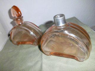 2 Große Flacons/flaschen,  Rosalin Pressglas,  30er Jahre,  Vintage Bild