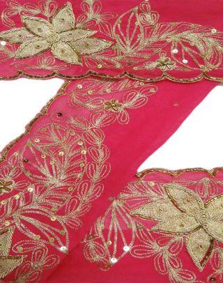 Vintage India Embroidered Sari Border Lace 1yd Ribbon Sewing Craft Magenta Trim Bild